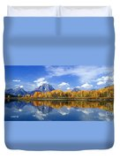 Panorama Fall Morning At Oxbow Bend Grand Tetons National Park Duvet Cover