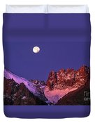 Panorama Moonset Middle Palisades Glacier Eastern Sierras California Duvet Cover