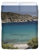 Panorama Of Mandrakia Fishing Village Milos Greece Duvet Cover