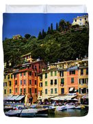 Panorama Of Portofino Harbour Italian Riviera Duvet Cover