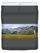 Panorama Of Rocky Mountains In Jasper National Park Duvet Cover