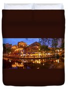Panorama Of San Antonio Riverwalk At Dusk - Texas Duvet Cover