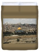 Panorama Of The Temple Mount Including Al-aqsa Mosque And Dome Duvet Cover