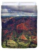 Panorama Of Waimea Canyon Hawaii Duvet Cover by David Smith