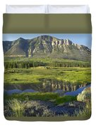 Panorama Of Windy Mountain Wyoming Duvet Cover
