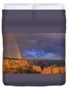 Panorama Rainbow Over Cape Royal North Rim Grand Canyon National Park Duvet Cover