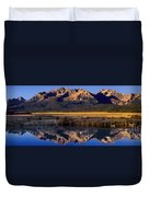 Panorama Reflections Sawtooth Mountains Nra Idaho Duvet Cover