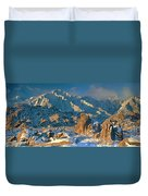Panorama Snow Covers The Alabama Hills Duvet Cover