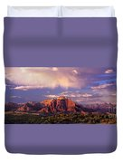 Panorama West Temple At Sunset Zion Natonal Park Duvet Cover
