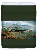 Panorama With The Abduction Of Helen Amidst The Wonders Of The Ancient World Duvet Cover