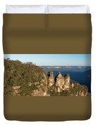 Panoramic Photo Of Blue Mountain And The Three Sisters Duvet Cover
