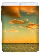 Panoramic Photo Sunrise At Monky Mia Duvet Cover by Yew Kwang