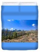 Panoramic Sawtooth Range And Little Redfish Lake Duvet Cover by Robert Bales