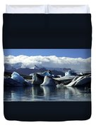 Panoramic View Of Icebergs And Glaciers Duvet Cover