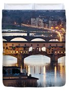 Panoramic View Of Ponte Vecchio - Florence - Tuscany Duvet Cover