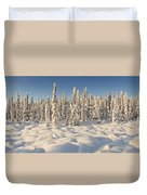 Panoramic View Of Snow-covered Spruce Duvet Cover
