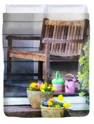 Pansies And Watering Cans On Steps Duvet Cover