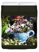 Cup Of Pansies Duvet Cover