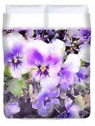 Pansies Watercolor Duvet Cover