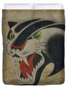 Traditional Tattoo Panther  Duvet Cover