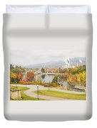 Paper Mill And Fall Colors In Rumford Maine Duvet Cover