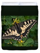 Papilio Machaon Butterfly Sitting On The Lucerne Plant Duvet Cover