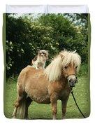 Papillon Riding Shetland Pony Duvet Cover