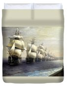 Parade Of The Black Sea Fleet In 1849 Duvet Cover