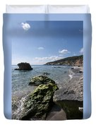Binigaus Beach In South Coast Of Minorca Island Europe - Paradise Is Not Far Away Duvet Cover