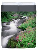 Paradise River And Spring Wildflowers Duvet Cover