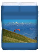 Paragliding In The Mountains Duvet Cover