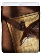 Parchment With Ink And Quill Pen Duvet Cover