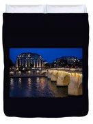 Paris Blue Hour - Pont Neuf Bridge And La Samaritaine Duvet Cover