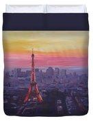 Paris Eiffel Tower At Dusk Duvet Cover