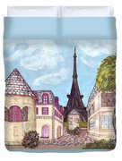Paris Eiffel Tower Inspired Impressionist Landscape Duvet Cover