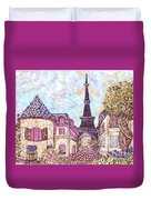 Paris Eiffel Tower Skyline Inspired Pointillist Landscape Duvet Cover