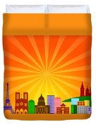 Paris France City Skyline Panorama Duvet Cover
