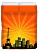Paris France Downtown City Skyline Duvet Cover