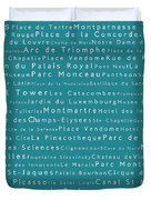 Paris In Words Teal Duvet Cover