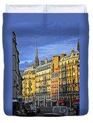 Paris Street At Sunset Duvet Cover by Elena Elisseeva