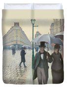 Paris Street In Rainy Weather Duvet Cover