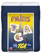 Paris Vintage Travel Poster Duvet Cover