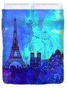 Paris Watercolor Skyline Duvet Cover