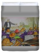 Parisian Hat Band Across From Notre Dame Cathedral Duvet Cover
