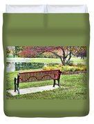 Park Bench By The Pond Duvet Cover