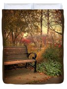 Park Bench In Autumn Duvet Cover