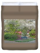 Park Bench Painting Duvet Cover