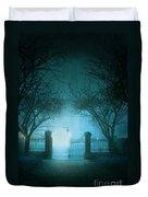 Park Gates At Night In Fog Duvet Cover