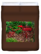 Parked Red Bicycle Duvet Cover