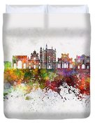 Parma Skyline In Watercolor Background Duvet Cover
